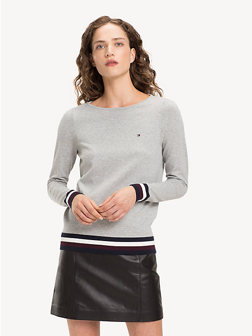 TOMMY HILFIGER Colour-Blocked Boat Neck Jumper - LIGHT GREY HTR LIGHT GREY HTR - TOMMY HILFIGER NEW IN - main image