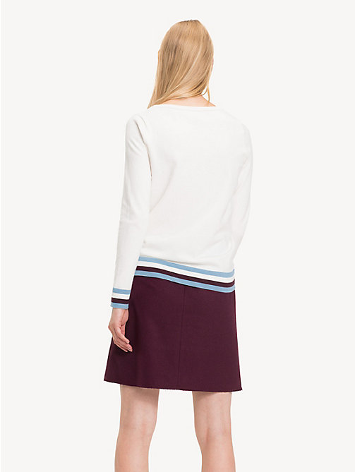 TOMMY HILFIGER Colour-blocked trui met boothals - SNOW WHITE -  NIEUW - detail image 1