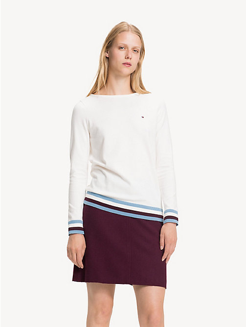 TOMMY HILFIGER Colour-Blocked Boat Neck Jumper - SNOW WHITE - TOMMY HILFIGER Jumpers - main image