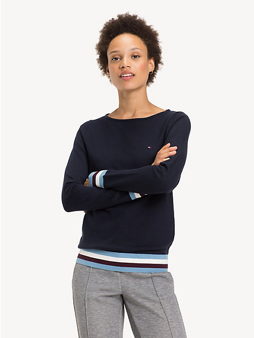 TOMMY HILFIGER Colour-Blocked Boat Neck Jumper - MIDNIGHT - TOMMY HILFIGER Jumpers - main image