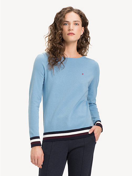 TOMMY HILFIGER Colour-Blocked Boat Neck Jumper - DUSK BLUE - TOMMY HILFIGER Jumpers - main image