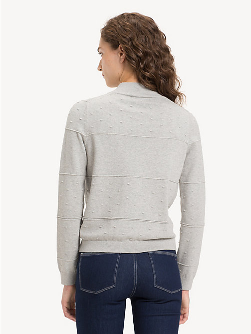 TOMMY HILFIGER Textured Organic Cotton Jumper - LIGHT GREY HTR - TOMMY HILFIGER Sustainable Evolution - detail image 1