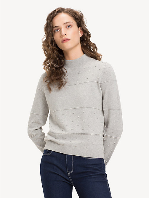 TOMMY HILFIGER Getextureerde trui van biologisch katoen - LIGHT GREY HTR - TOMMY HILFIGER Sustainable Evolution - main image