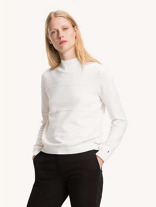 TOMMY HILFIGER Textured Organic Cotton Jumper - SNOW WHITE - TOMMY HILFIGER Sustainable Evolution - main image