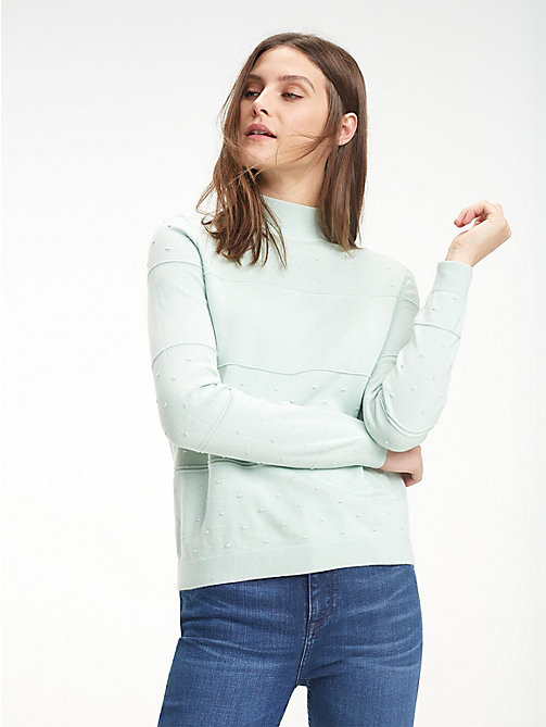TOMMY HILFIGER Textured Organic Cotton Jumper - AQUA FOAM - TOMMY HILFIGER Sustainable Evolution - main image