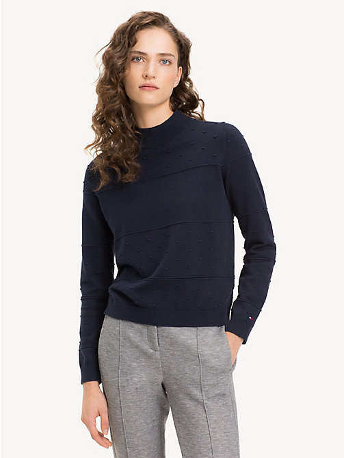 TOMMY HILFIGER Textured Organic Cotton Jumper - MIDNIGHT - TOMMY HILFIGER Sustainable Evolution - main image