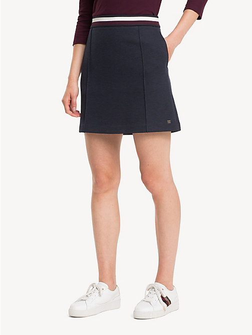 TOMMY HILFIGER Stripe Waistband Jersey Skirt - MIDNIGHT - TOMMY HILFIGER Skirts - detail image 1