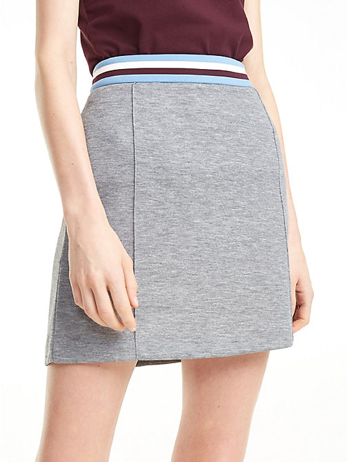 TOMMY HILFIGER Stripe Waistband Jersey Skirt - MEDIUM GREY HTR - TOMMY HILFIGER Skirts - detail image 1