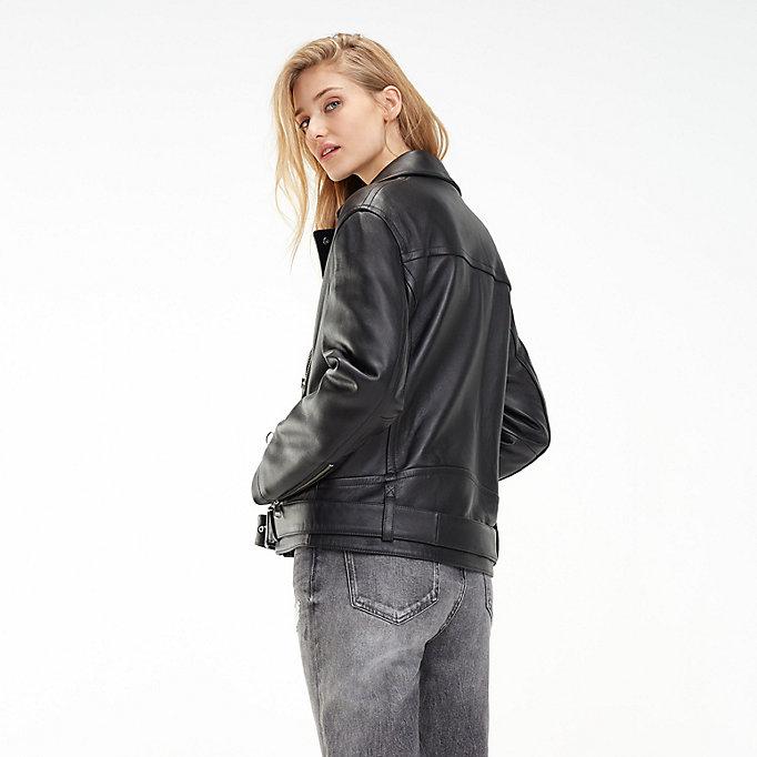 d45847541 Oversized Leather Biker Jacket | BLACK BEAUTY | Tommy Hilfiger