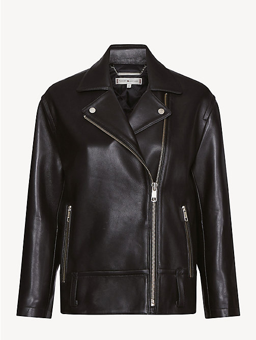 TOMMY HILFIGER Oversized Leather Biker Jacket - BLACK BEAUTY - TOMMY HILFIGER Something Special - detail image 1