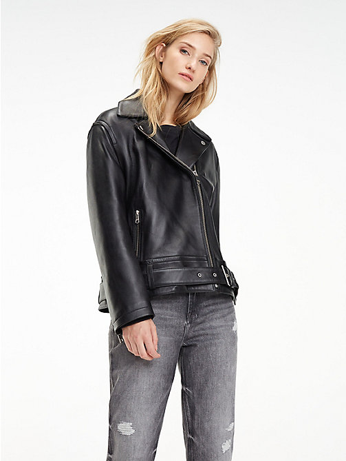 TOMMY HILFIGER Oversized Leather Biker Jacket - BLACK BEAUTY - TOMMY HILFIGER Something Special - main image