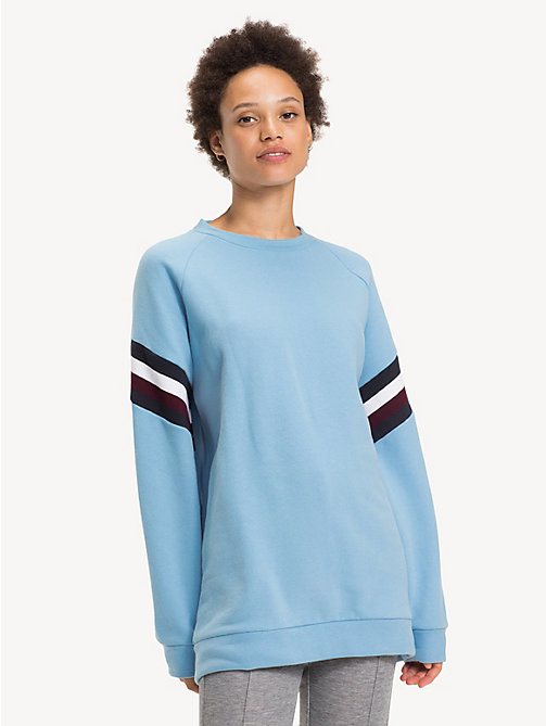 TOMMY HILFIGER Colour-Blocked Crew Neck Sweatshirt - DUSK BLUE - TOMMY HILFIGER NEW IN - main image