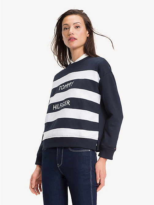 TOMMY HILFIGER Regular fit gestreept sweatshirt - MIDNIGHT / CL. WHITE - TOMMY HILFIGER NIEUW - main image