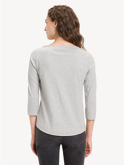 TOMMY HILFIGER Organic Cotton Metallic Trim Top - LIGHT GREY HTR - TOMMY HILFIGER Sustainable Evolution - detail image 1