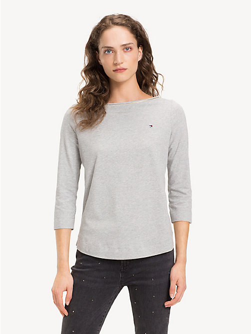 TOMMY HILFIGER Organic Cotton Metallic Trim Top - LIGHT GREY HTR - TOMMY HILFIGER Sustainable Evolution - main image