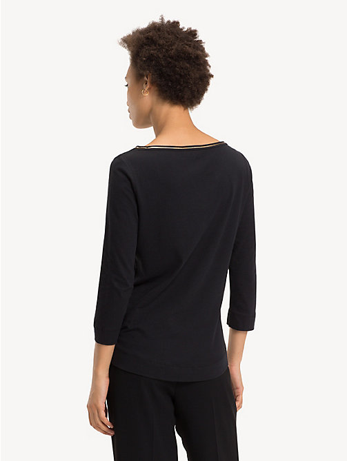 TOMMY HILFIGER Organic Cotton Metallic Trim Top - BLACK BEAUTY - TOMMY HILFIGER Sustainable Evolution - detail image 1