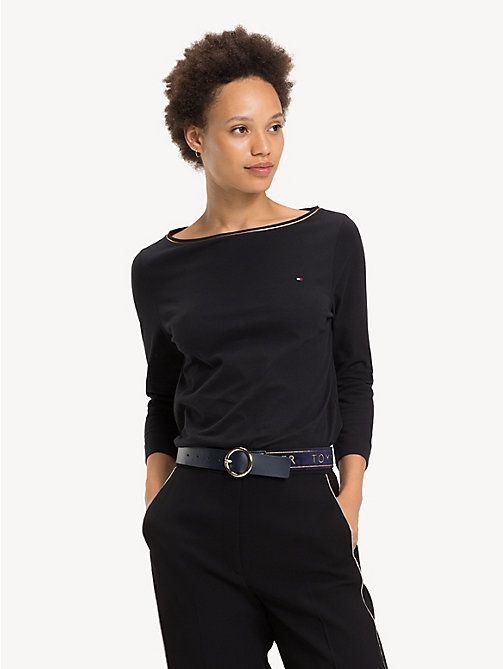 TOMMY HILFIGER Organic Cotton Metallic Trim Top - BLACK BEAUTY - TOMMY HILFIGER Sustainable Evolution - main image