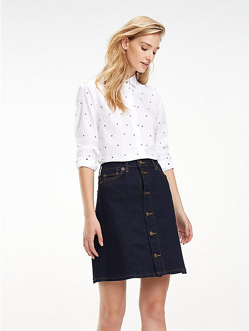 TOMMY HILFIGER Flag Print Poplin Shirt - FLAG DOBBY / WHITE - TOMMY HILFIGER Black Friday Women - main image