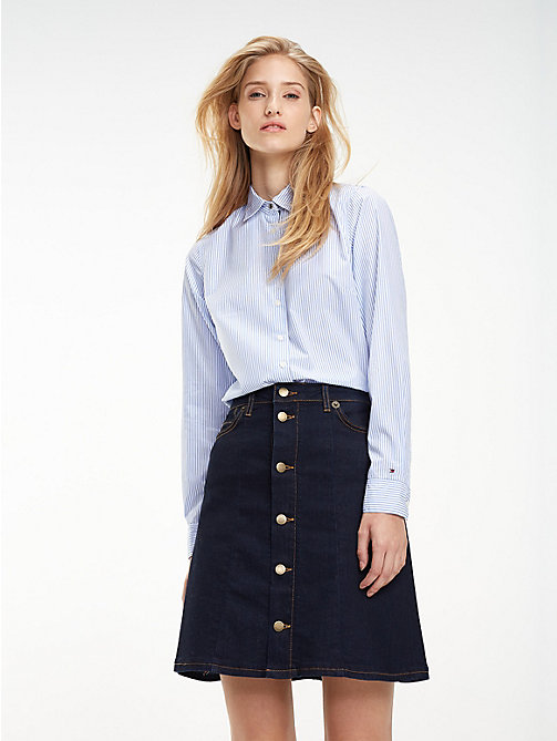 TOMMY HILFIGER Stretch Organic Cotton Shirt - SHIRT BLUE/ CLASSIC WHITE STRIPE - TOMMY HILFIGER Black Friday Women - main image