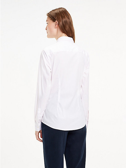TOMMY HILFIGER Stretch Organic Cotton Stripe Shirt - BALLERINA PINK / CLASSIC WHITE STP - TOMMY HILFIGER Sustainable Evolution - detail image 1