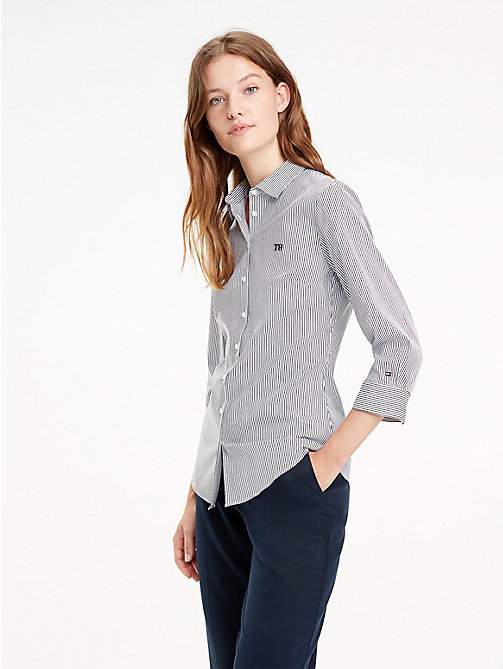 TOMMY HILFIGER Stretch Poplin Shirt - BLACK BEAUTY / CLASSIC WHITE STRIPE - TOMMY HILFIGER Black Friday Women - main image