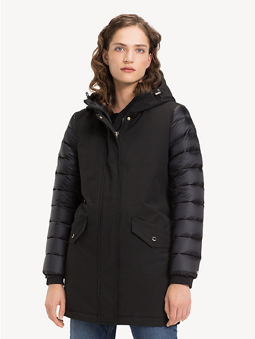 TOMMY HILFIGER Contrast Sleeve Padded Jacket - BLACK BEAUTY - TOMMY HILFIGER NEW IN - main image