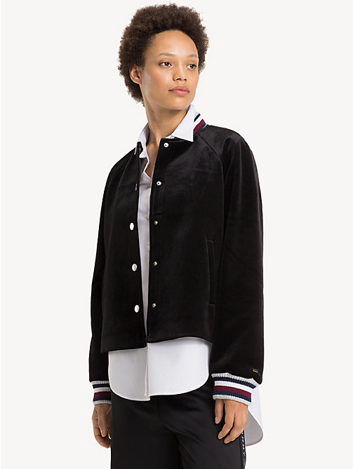 TOMMY HILFIGER Tommy Icons Velvet Bomber Jacket - BLACK BEAUTY - TOMMY HILFIGER TOMMY ICONS - main image