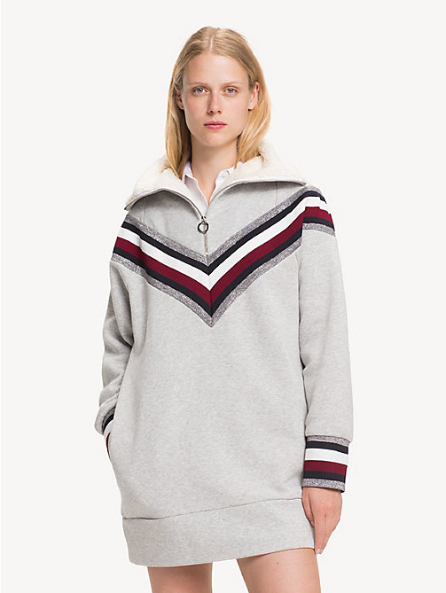 TOMMY HILFIGER Tommy Icons sweaterjurk - LIGHT GREY HTR - TOMMY HILFIGER Kleding - main image