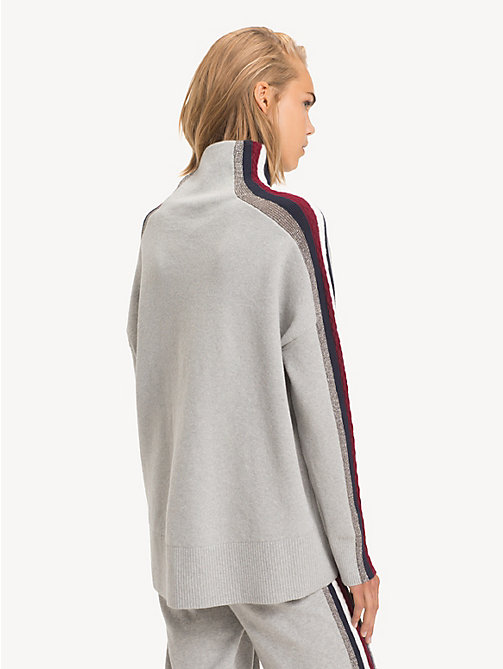 TOMMY HILFIGER Tommy Icons Mock Neck Jumper - LIGHT GREY HTR - TOMMY HILFIGER TOMMY ICONS - detail image 1