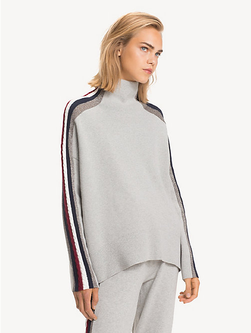 TOMMY HILFIGER Tommy Icons Mock Neck Jumper - LIGHT GREY HTR - TOMMY HILFIGER TOMMY ICONS - main image