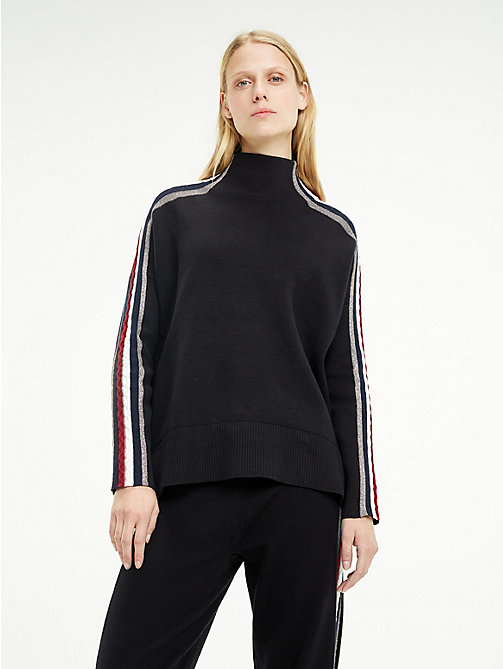 TOMMY HILFIGER Tommy Icons Mock Neck Jumper - BLACK BEAUTY - TOMMY HILFIGER Clothing - main image