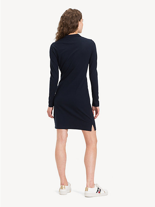 TOMMY HILFIGER Slim Fit Long Sleeve Polo Dress - MIDNIGHT - TOMMY HILFIGER Dresses - detail image 1