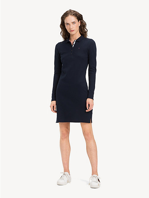 TOMMY HILFIGER Slim Fit Long Sleeve Polo Dress - MIDNIGHT - TOMMY HILFIGER Dresses - main image