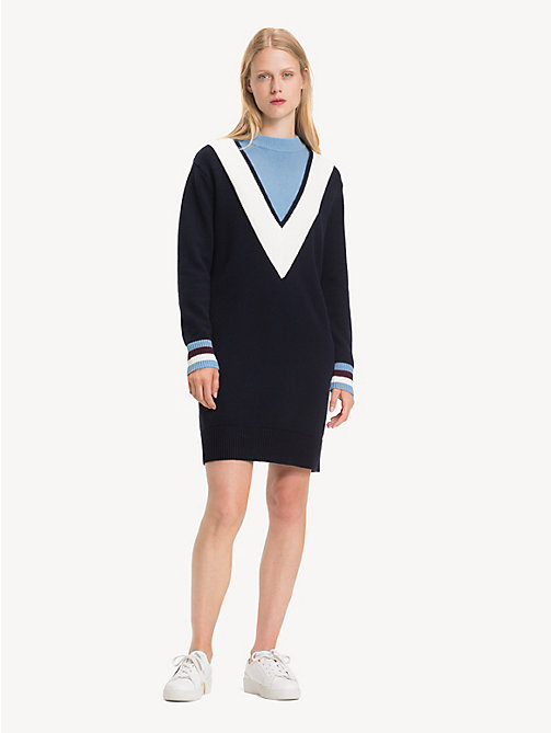 TOMMY HILFIGER Chevron Jumper Dress - SKY CAPTAIN / DUSK BLUE MULTI - TOMMY HILFIGER Jumper Dresses - main image