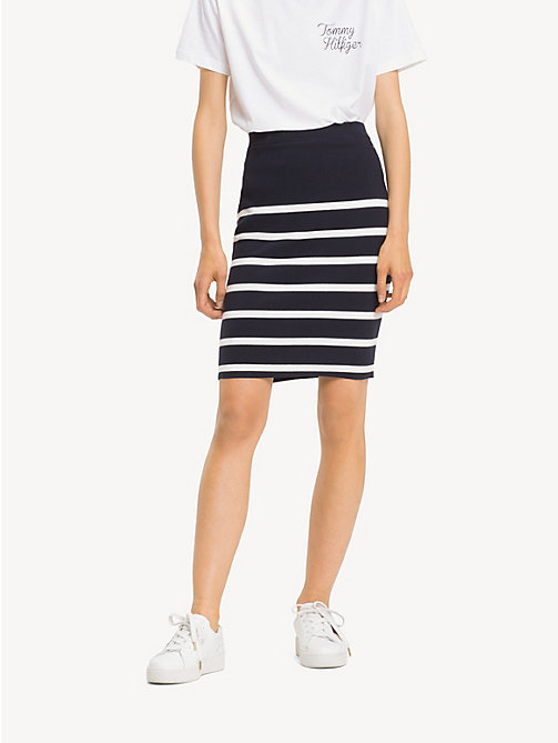 TOMMY HILFIGER All-over gestreepte rok - SKY CAPTAIN / SNOW WHITE STP - TOMMY HILFIGER NIEUW - detail image 1
