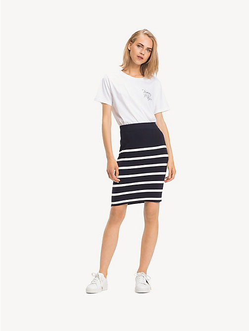 TOMMY HILFIGER All-Over Stripe Skirt - SKY CAPTAIN / SNOW WHITE STP - TOMMY HILFIGER NEW IN - main image