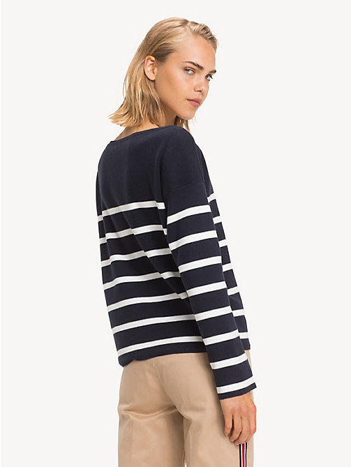 TOMMY HILFIGER All-over gestreept sweatshirt - SKY CAPTAIN / SNOW WHITE STP - TOMMY HILFIGER NIEUW - detail image 1