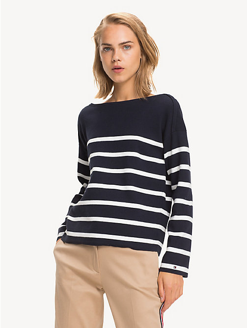 TOMMY HILFIGER All-over gestreept sweatshirt - SKY CAPTAIN / SNOW WHITE STP - TOMMY HILFIGER NIEUW - main image