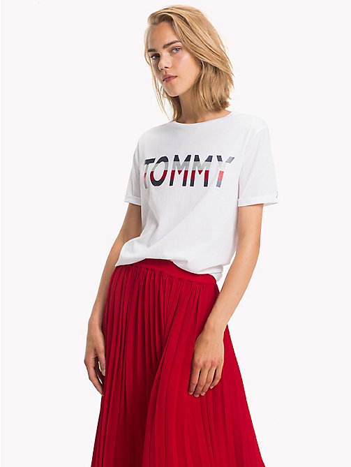 TOMMY HILFIGER Global Stripe Logo T-Shirt - CLASSIC WHITE - TOMMY HILFIGER Signature stripes - main image