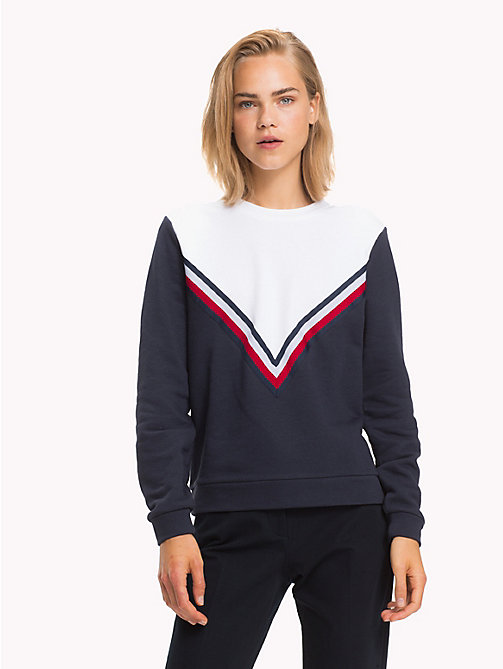 TOMMY HILFIGER Felpa girocollo con righe global - MIDNIGHT - TOMMY HILFIGER Righe iconiche - immagine principale