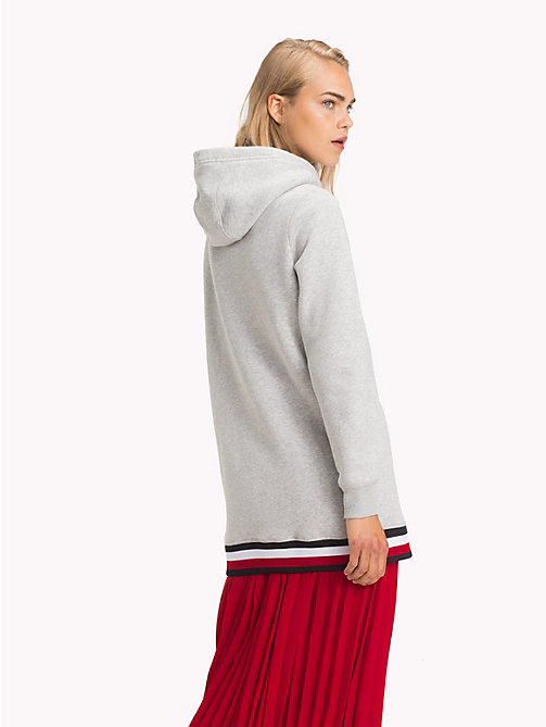 TOMMY HILFIGER Global Stripe Oversized Fit Hoody - LIGHT GREY HTR - TOMMY HILFIGER Signature stripes - detail image 1