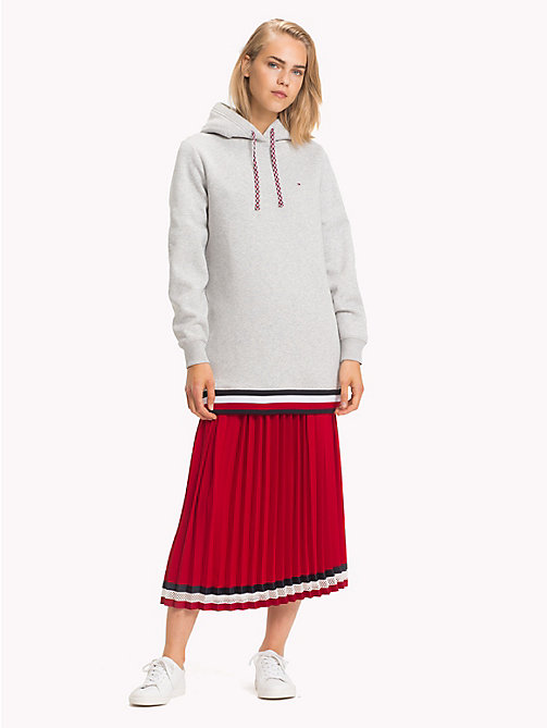 TOMMY HILFIGER Felpa oversize con cappuccio e righe global - LIGHT GREY HTR - TOMMY HILFIGER Righe iconiche - immagine principale