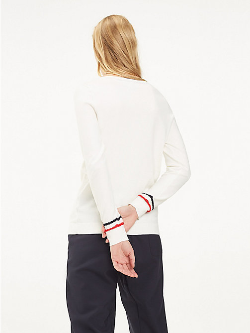 TOMMY HILFIGER Plait Cuff Sweater - SNOW WHITE - TOMMY HILFIGER Jumpers - detail image 1