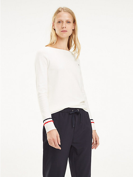TOMMY HILFIGER Plait Cuff Sweater - SNOW WHITE - TOMMY HILFIGER Jumpers - main image