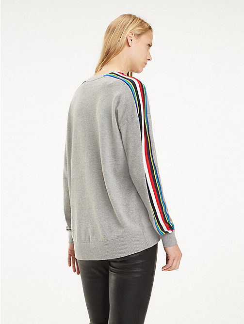 TOMMY HILFIGER Multicolour Tape Organic Cotton Jumper - LIGHT GREY HTR - TOMMY HILFIGER Jumpers - detail image 1