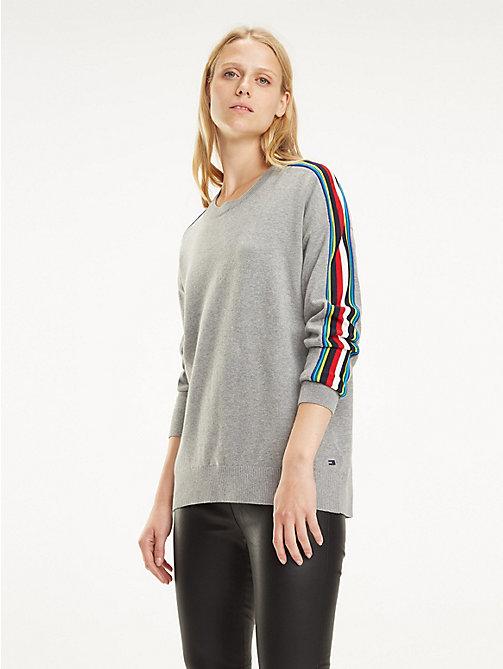 TOMMY HILFIGER Multicolour Tape Organic Cotton Jumper - LIGHT GREY HTR - TOMMY HILFIGER Jumpers - main image