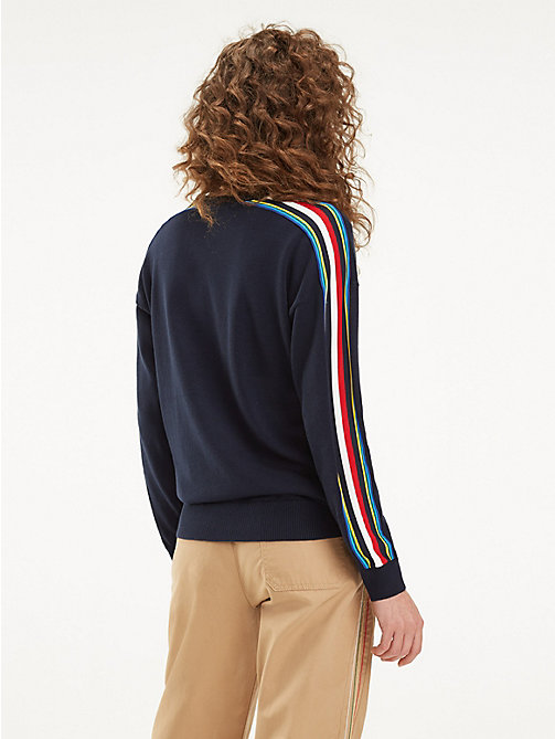 TOMMY HILFIGER Pull en coton bio à bandes multicolores - SKY CAPTAIN - TOMMY HILFIGER Sustainable Evolution - image détaillée 1
