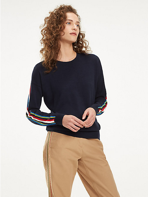 TOMMY HILFIGER Pull en coton bio à bandes multicolores - SKY CAPTAIN - TOMMY HILFIGER Sustainable Evolution - image principale
