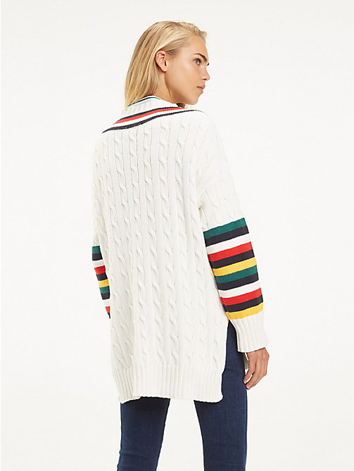 TOMMY HILFIGER Cable Knit Cricket Jumper - SNOW WHITE - TOMMY HILFIGER Jumpers - detail image 1