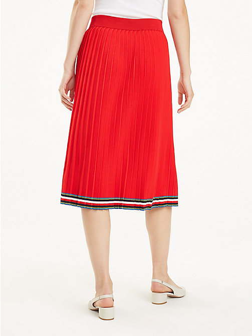 TOMMY HILFIGER Pleated Midi Skirt - TRUE RED - TOMMY HILFIGER Skirts - detail image 1